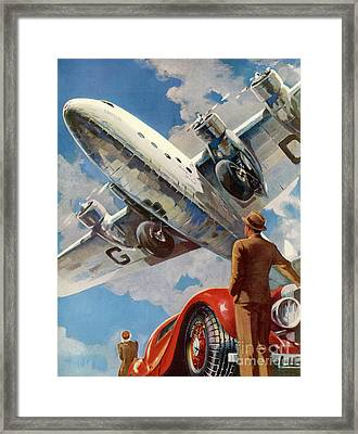 Armstrong Whitworth  Ensign Of Imperial Airways And A Red Car Framed Print