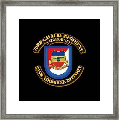 Army - Flash - 73rd Cavalry Regiment - Airborne Framed Print by Tom Adkins