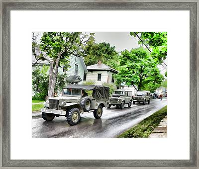 Army Jeeps On Parade Framed Print