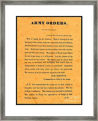 Texian Army Orders Call To Arms Broadside From Sam Houston 1836 Texas Revolution Framed Print