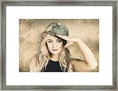 Army Pin-up Girl Signing Up For Recruit Enrolment  Framed Print by Jorgo Photography - Wall Art Gallery