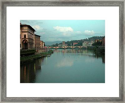 Framed Print featuring the photograph Arno River, Florence, Italy by Mark Czerniec