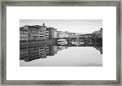 Framed Print featuring the photograph Arno River Reflection, Florence, Italy by Richard Goodrich