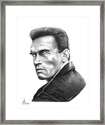 Arnold Schwarzenegger Framed Print by Murphy Elliott