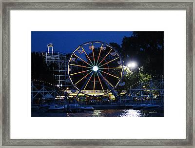 Arnolds Park At Night Framed Print