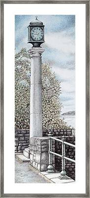 Arnside Clock  Cumbria Framed Print by Sandra Moore