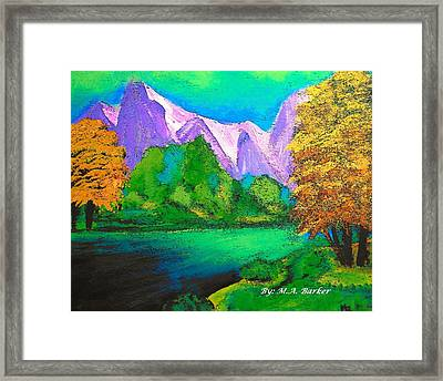 Arora Borealis Mountain Image Framed Print by Mary ann Barker