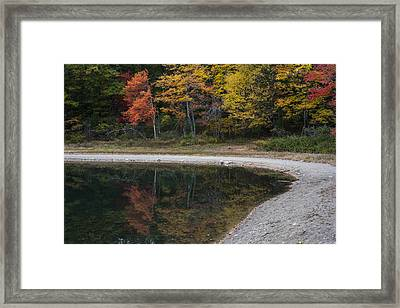 Around The Bend- Hiking Walden Pond In Autumn Framed Print
