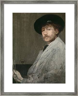 Arrangement In Grey  Portrait Of The Painter Framed Print by James Abbott McNeill Whistler