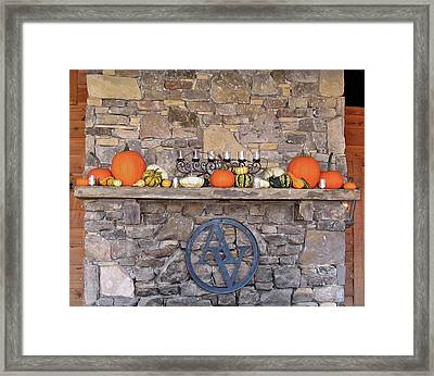 Arrington Vineyards Fireplace Mantle Framed Print