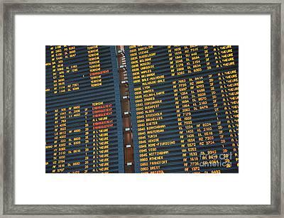 Arrival Board At Paris Charles De Gaulle International Airport Framed Print by Sami Sarkis