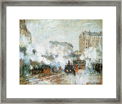 Arrival Of A Train Framed Print by Claude Monet