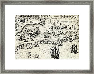 Arrival Of English In Virginia Framed Print by Theodor de Bry