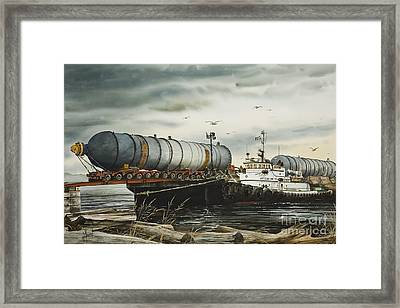 Arrival Of Reactor Vessels Framed Print by James Williamson