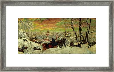 Arriving For The Holidays Framed Print by Boris Mihajlovic Kustodiev