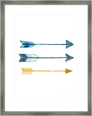 Arrow Watercolor Art Print Painting Framed Print by Joanna Szmerdt