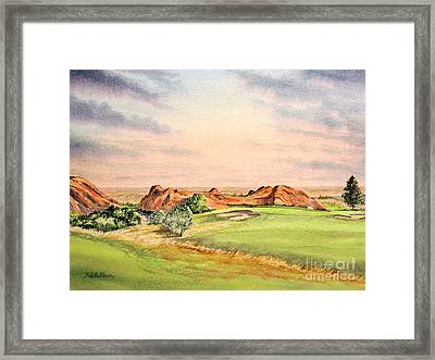 Framed Print featuring the painting Arrowhead Golf Course Colorado Hole 3 by Bill Holkham
