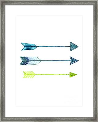 Arrows Watercolor Art Print Framed Print by Joanna Szmerdt