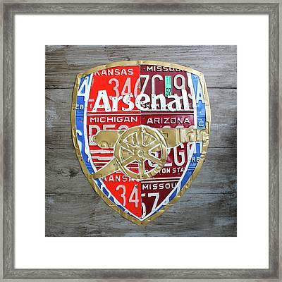 Arsenal Football Team Emblem Recycled Vintage Colorful License Plate Art Framed Print by Design Turnpike