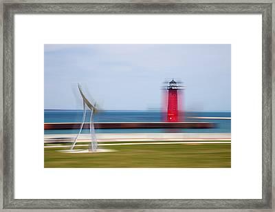 Art By The Lake Shore Framed Print