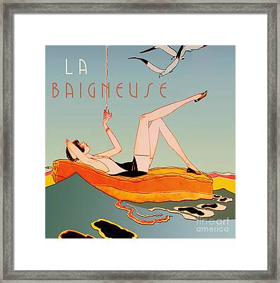 Art Deco Beach Bather Framed Print