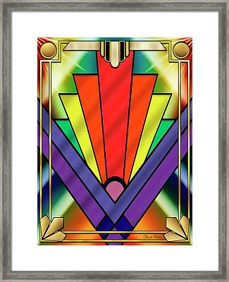 Framed Print featuring the digital art Art Deco Chevron 1 V - Chuck Staley by Chuck Staley