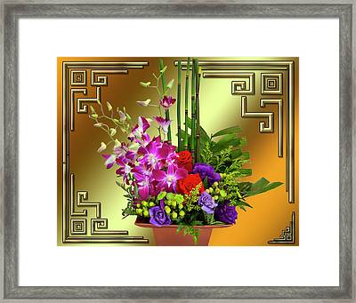 Framed Print featuring the digital art Art Deco Floral Arrangement by Chuck Staley