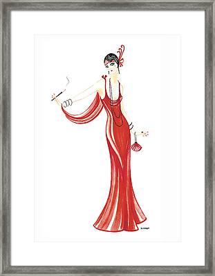 Art Deco Lady - Daphne Framed Print by Di Kaye