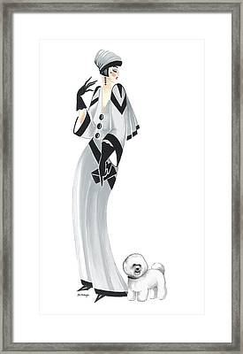 Art Deco Lady - Margaret And Snowflake Framed Print by Di Kaye