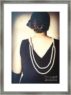 Art Deco Lady In Pearls Framed Print
