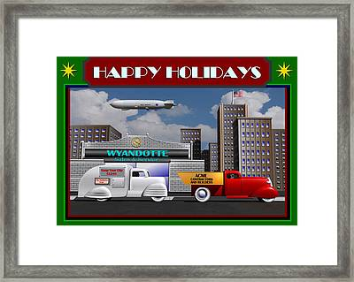 Art Deco Street Scene Christmas Card Framed Print by Stuart Swartz