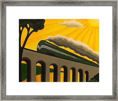 Art Deco Train Poster Framed Print by Emma Childs