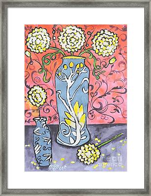 Art Deco Vase With Three Flowers Framed Print