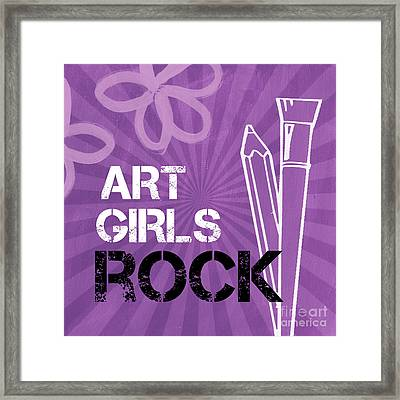 Art Girls Rock Framed Print by Linda Woods