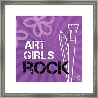 Art Girls Rock Framed Print by Linda Woods