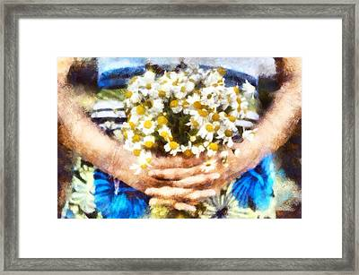 Art Illustration. Watercolor Painting. Beautiful Wedding Bouquet Of Flowers Chamomile In Hands Of Ya Framed Print