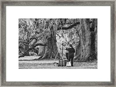Art Lesson - Paint Bw Framed Print by Steve Harrington