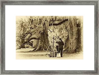 Art Lesson - Paint Sepia Framed Print by Steve Harrington