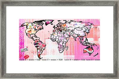 Art Map Pink Love Framed Print by WALL ART and HOME DECOR