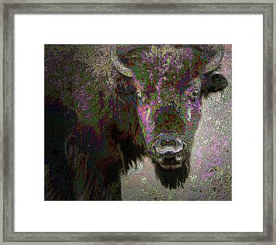 Framed Print featuring the mixed media Art Neuvo Bison by Irma BACKELANT GALLERIES