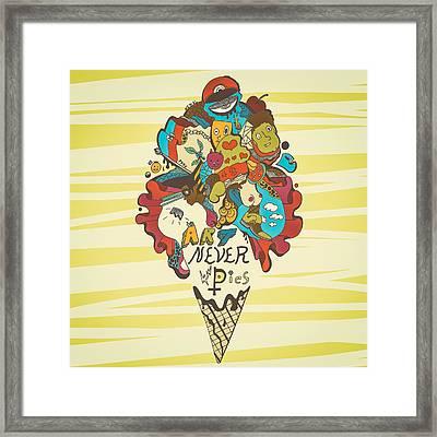 Art Never Dies Ice Cream Illustration Framed Print by Kenal Louis