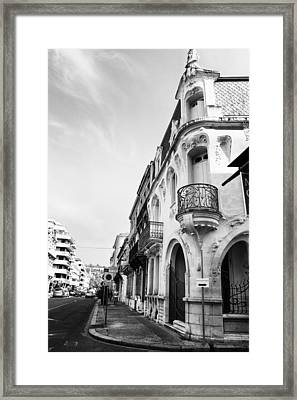 Art Nouveau Building In Mono Framed Print
