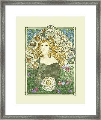 Art Nouveau Goddess Of Astrology Framed Print