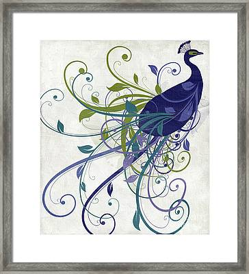 Art Nouveau Peacock I Framed Print by Mindy Sommers