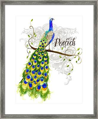 Art Nouveau Peacock W Swirl Tree Branch And Scrolls Framed Print by Audrey Jeanne Roberts