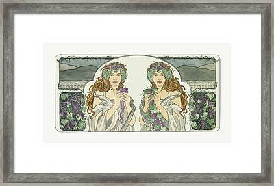 Art Nouveau Pinot Noir Vineyard Framed Print by Dee Van Houten