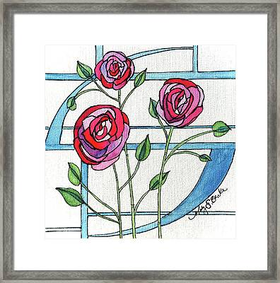 Art Nouveau Roses Framed Print by Mary Benke