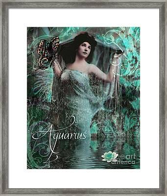 Art Nouveau Zodiac Aquarius Framed Print by Mindy Sommers