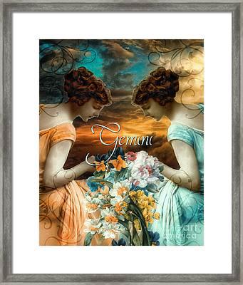 Art Nouveau Zodiac Gemini Framed Print by Mindy Sommers