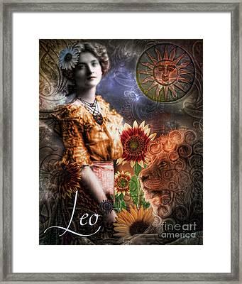 Art Nouveau Zodiac Leo Framed Print by Mindy Sommers